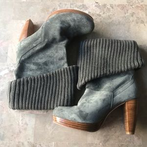 Charlotte Ronson Knit Cuff Gray Suede Heel Boots